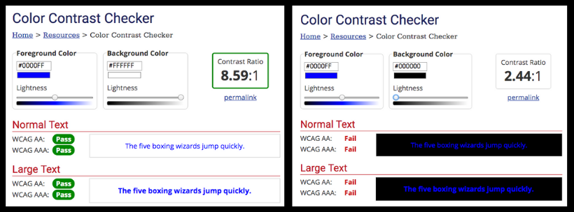 most common accessibility issues color contrast